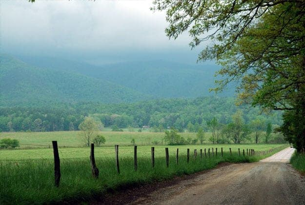 Cades Cove Loop Road on a cloudy summer day