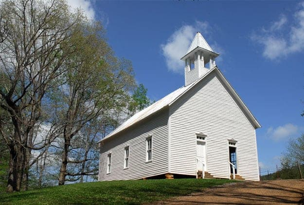 Historic Cades Cove Methodist Church in the Great Smoky Mountains
