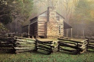 The historic John Oliver Cabin in Cades Cove.