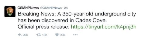 A tweet from GSMNPNews about the underground city beneath Cades Cove.