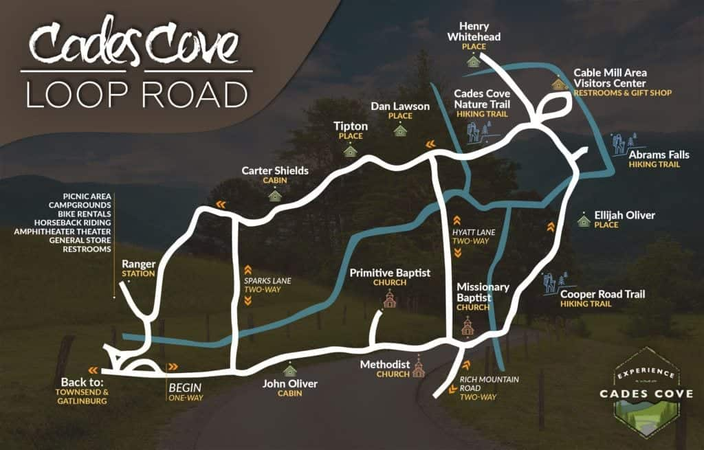 Cades Cove Loop Road Map